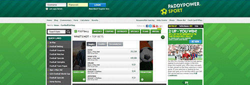 Paddy Power is also known for its sports betting section