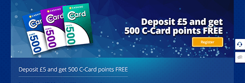 Cashino has a loyalty programme called the C-Cards Rewards