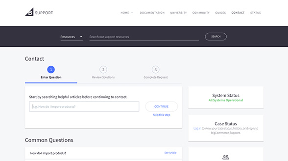 BigCommerce has several contact options
