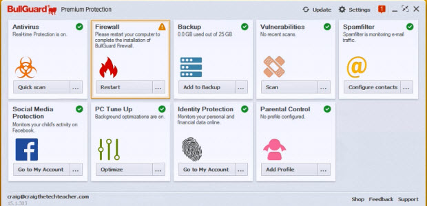 Dashboard of the BullGuard Premium Protection Software package.