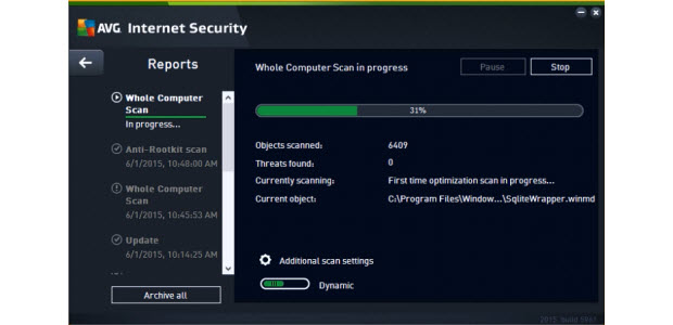Dashboard of the AVG Ultimate Software package while running a system scan.