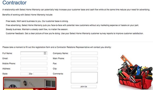 Select home warranty contractor form