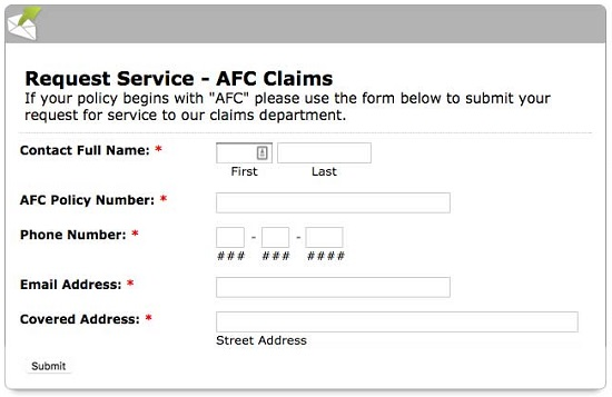 AFC home warranty request service form