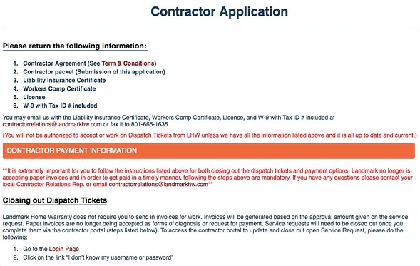 Landmark home warranty contractor application