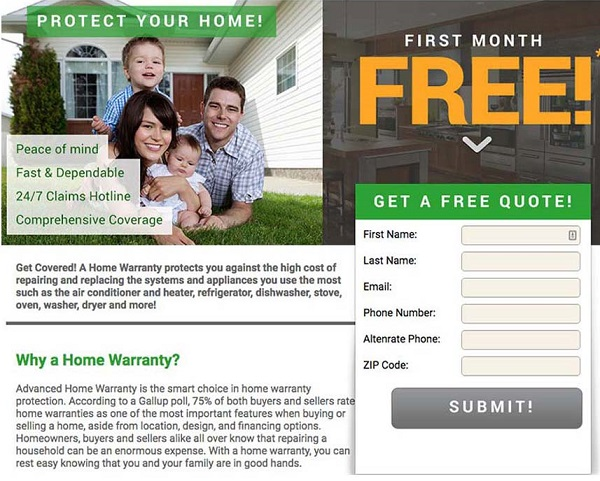 Advanced Home warranty first month free coupon