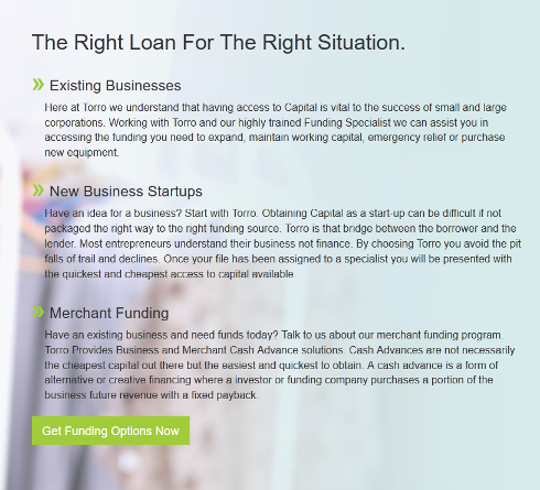 Business loans available from Torro