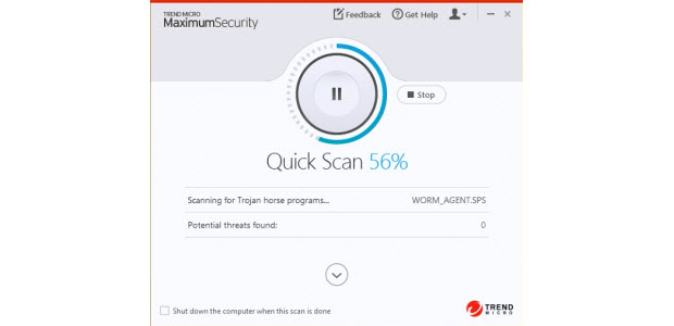 Dashboard of the Trend Micro Maximum Security Software package while running a system scan.