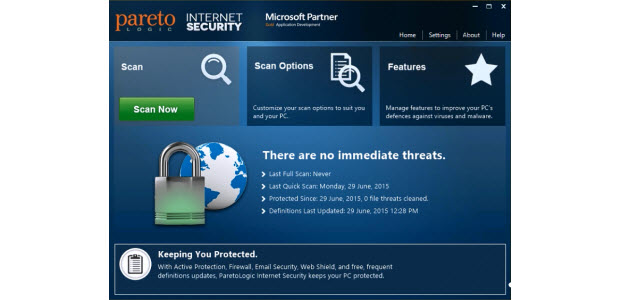 Dashboard of the ParetoLogic Internet Security Software package.