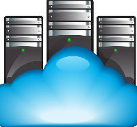 Servers in the cloud icon