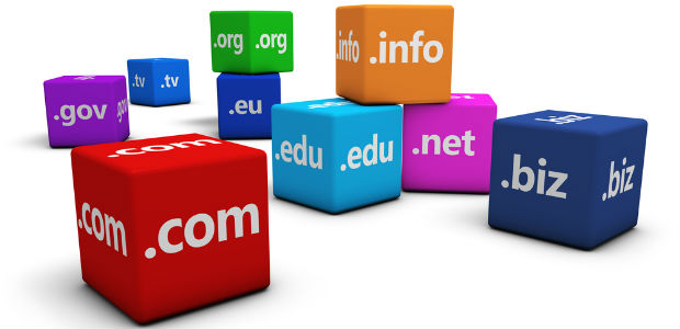 Colorful blocks of domain name extensions