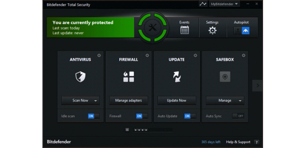 Dashboard of the Bitdefender Total Security 2015 Software package.