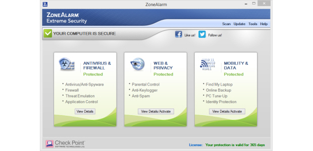 Dashboard of the ZoneAlarm Extreme Security Software package.