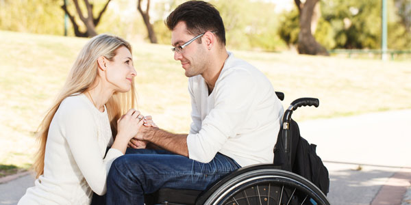 Couple falling in love via disabled dating sites