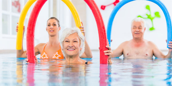 single seniors in Texas at the pool