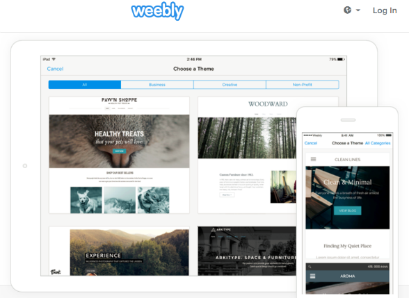 Weebly has a variety of templates