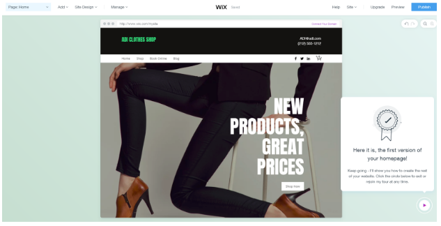 Wix ADI creates a home page based on your preferences