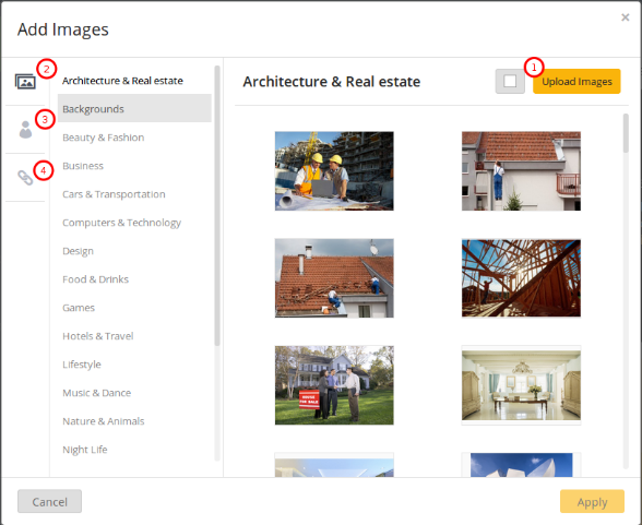 Adding images to a website with eHost's website builder.