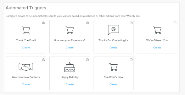 Weebly Promote has options for a number of automated emails