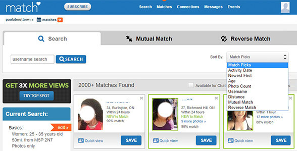 match.com Search Tools