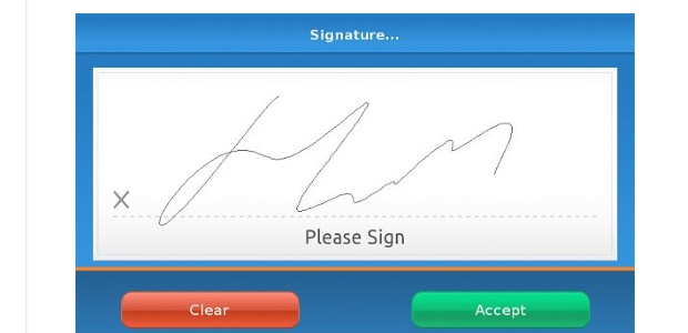 signature capture screen