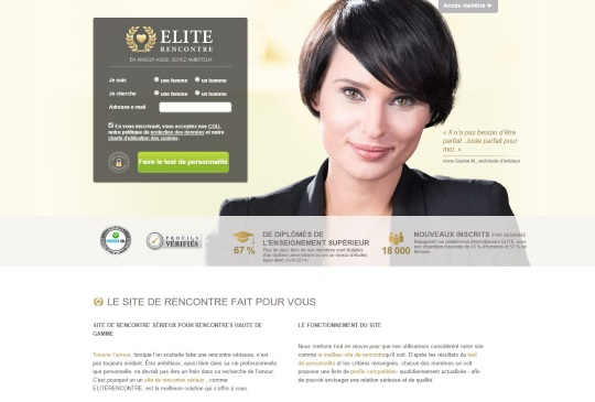 copie d'écran du site Elite Rencontre