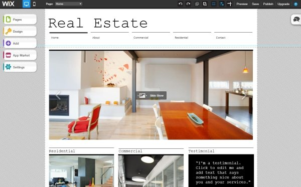 login to a Wix real-estate site