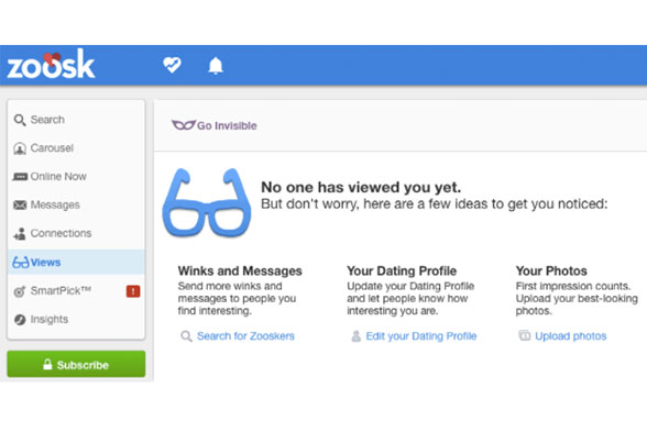Zoosk profile page