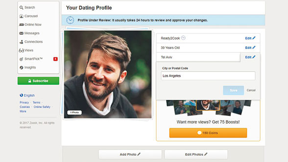 Editing your profile on Zoosk is simple