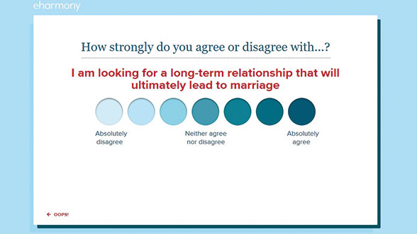 eharmony asks you what you're looking for in a relationship