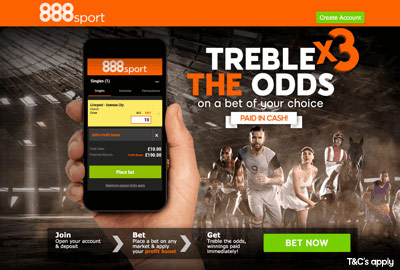 Treble the Odds at 888sport
