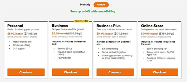 Save up to 16% with GoDaddy's annual pricing