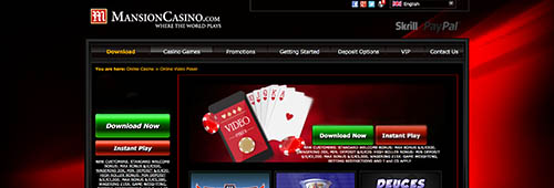 Mansion offers a great poker site