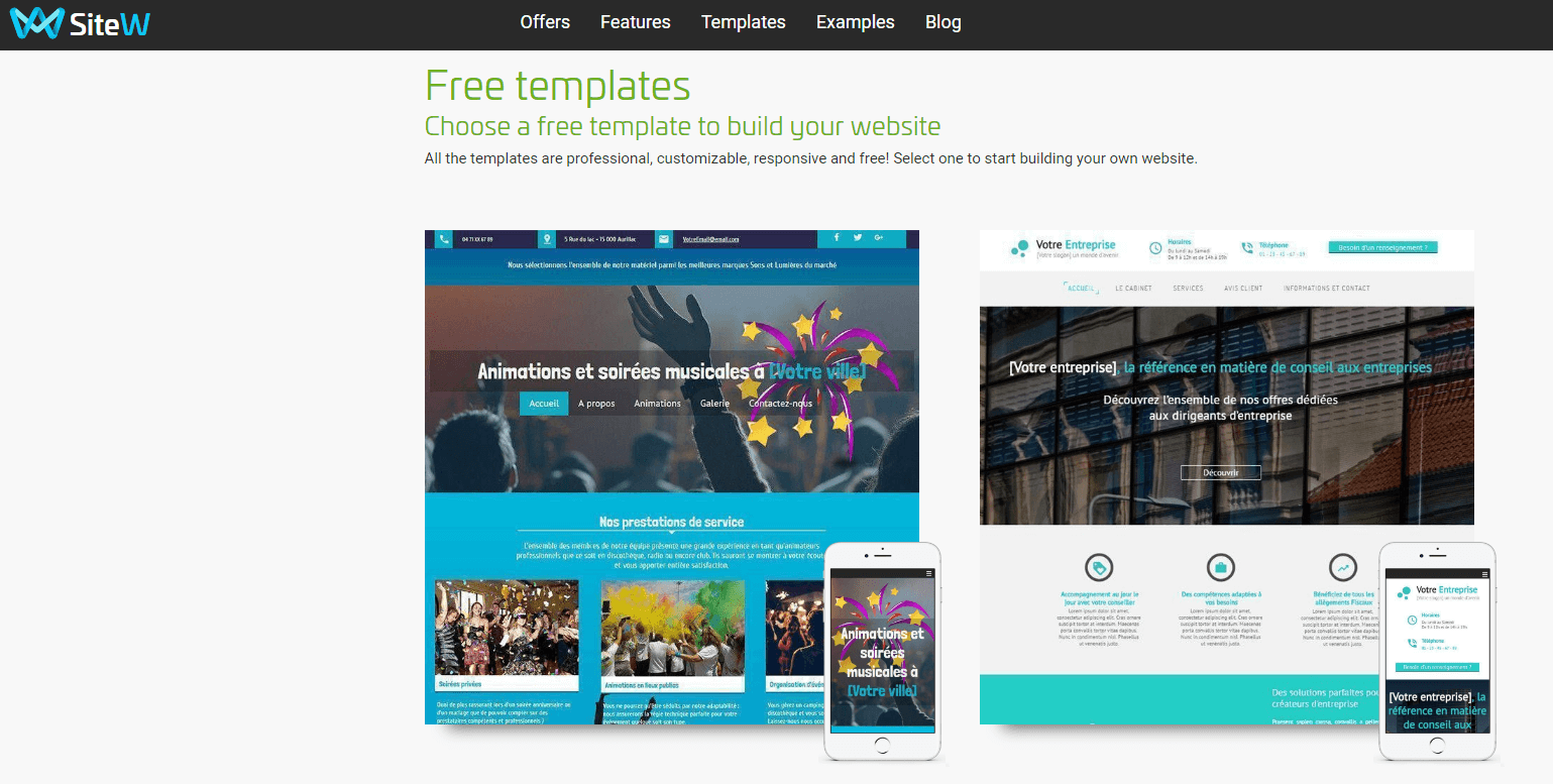 Compare SiteW Website Templates