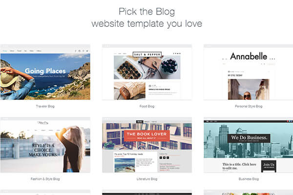 Wix has dozens of blog template categories