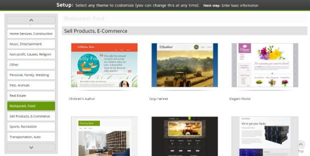 GoDaddy website builder template gallery