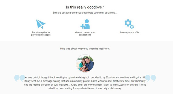 deactivating your Zoosk account