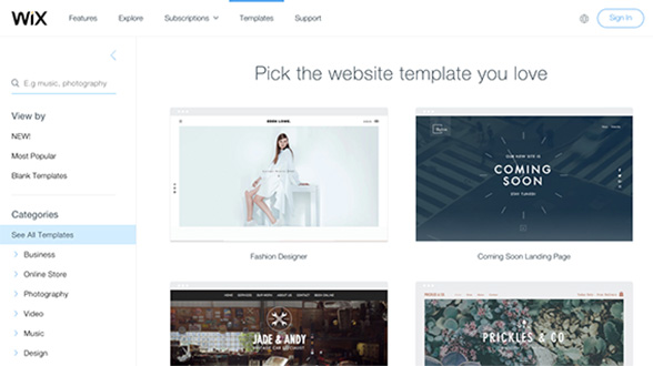 Wix has a variety of templates to offer