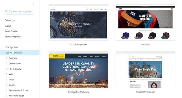 browse Wix templates by categories