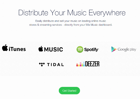 Wix lets you distribute your music everywhere