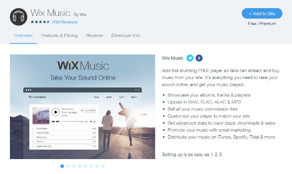 The Wix music app is easy to download and start using.