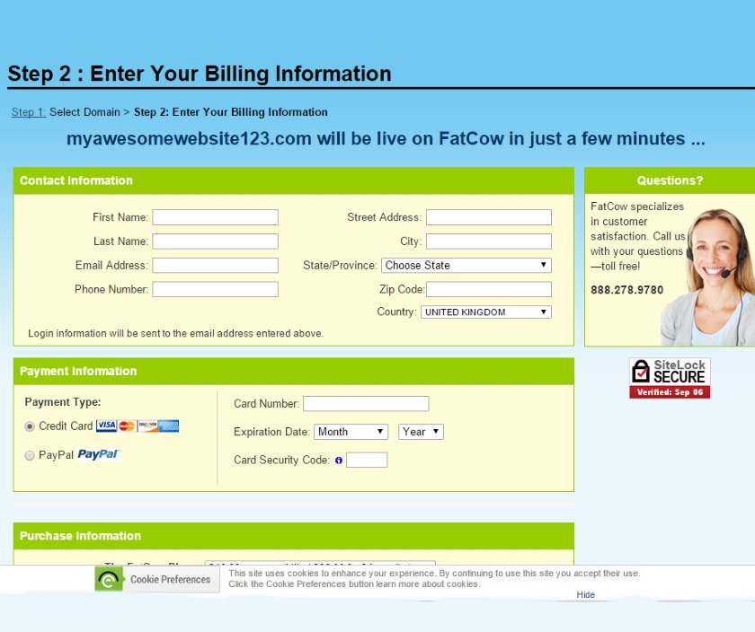 It is simple to sign up with FatCow