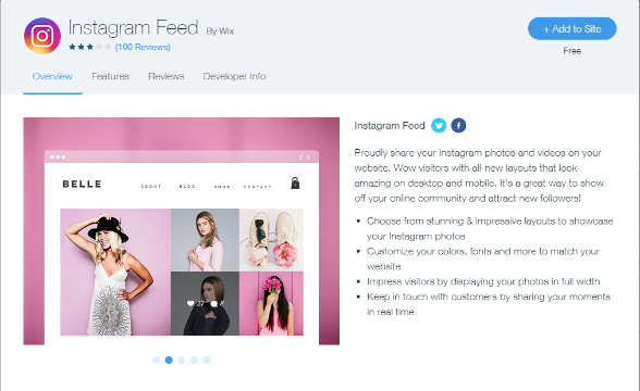 The Instagram Feed by Wix is easy to set up