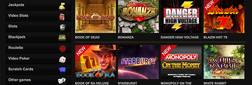 Videoslots features an impressive range of casino games
