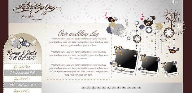 Example of Wix wedding site template