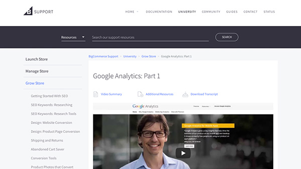 BigCommerce make it easy to use Google Analytics