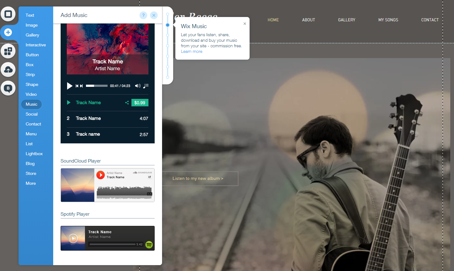 You can add a number of different players to your homepage on a Wix music site