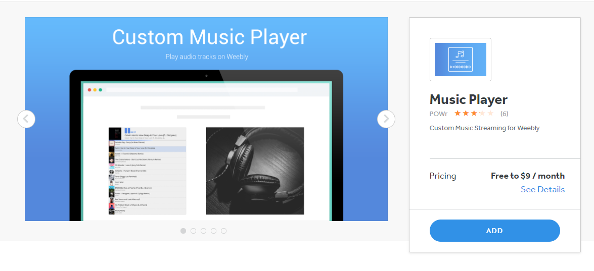 The POWr Music Player app allows you to stream music on your Weebly site