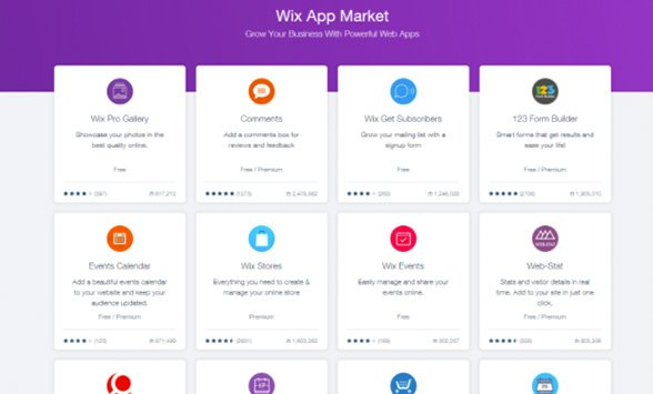 Wix App Market allows users to add extra elements to their sites