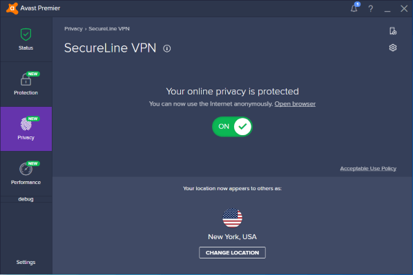 Connected to Avast VPN