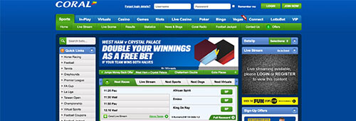 Enjoy a wide range of sports betting at Coral